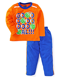 Taeko Full Sleeves T-Shirt And Pant Goal Print - Orange And Royal Blue