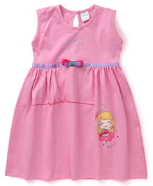 Babyhug Sleeveless Frock Cutie Pie Print - Pink
