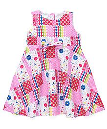 Babyhug Sleeveless Frock Multi Print - Pink