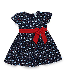 Babyhug Short Sleeves Cotton Frock Umbrella Print - Dark Blue And Red