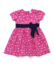 Babyhug Short Sleeves Cotton Frock Umbrella Print - Pink
