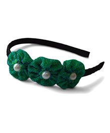 Pink Velvetz Glittery Flower With Pearl Applique Hair Band - Green