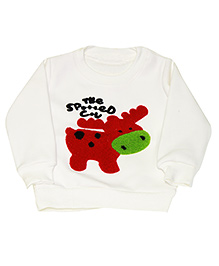 Kiwi Full Sleeves Sweatshirt Cow Patch - White
