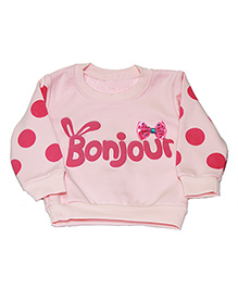 Kiwi Full Sleeves Sweatshirt Bonjour Print - Pink