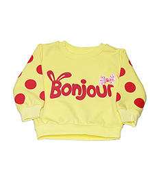 Kiwi Full Sleeves Sweatshirt Bonjour Print - Yellow
