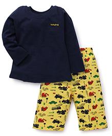 Babyhug Full Sleeves Night Suit Vehicle Print - Yellow Navy