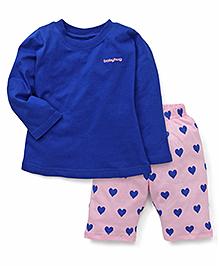 Babyhug Full Sleeves Night Suit Heart Print - Royal Blue Pink