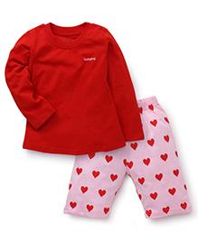 Babyhug Full Sleeves Night Suit Heart Print - Red Pink