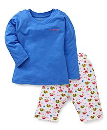Babyhug Full Sleeves Night Suit Car Print - Blue White