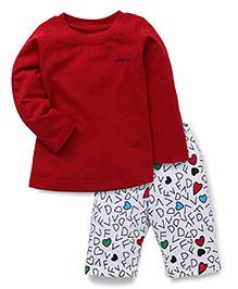 Babyhug Full Sleeves Night Suit Alphabet Print - Red White