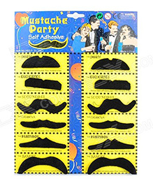 Funcart Stick On Party Moustache Pack Of 12 - Black