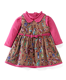 Yellow Duck Frock With Print And Inner Tee - Pink & Brown