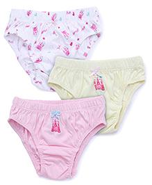Babyhug Printed Panties Pack Of 3 - Pink Lime Yellow White