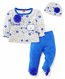 Wow Girl Full Sleeves Top Bootie Legging And Cap - Blue White