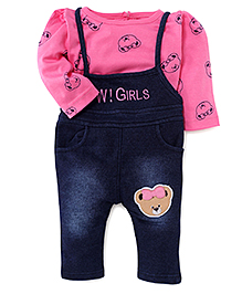 Wow Girl Sleeveless Dungaree With Full Sleeves Inner Tee - Pink & Blue