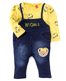 Wow Girl Sleeveless Dungaree With Full Sleeves Inner Tee - Yellow & Blue