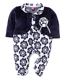 Wow Girl Floral Footed Romper With Attached Shrug - Navy Blue