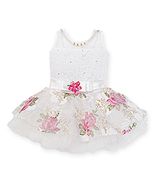 Enfance Sleeveless Party Frock With Attached Necklace - White & Pink