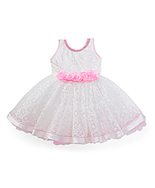 Enfance Pearls Woven Self Net Printed Party Wear Frock - White