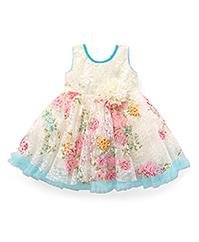 Enfance Cute Floral Print Flared Party Dress - White