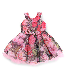 Enfance Sleeveless Floral Print Party Wear Frock Attached Necklace- Pink