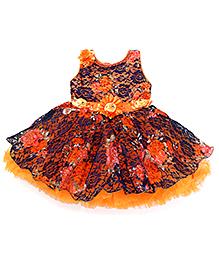Enfance Floral Pearls Flared Party Dress - Blue & Orange