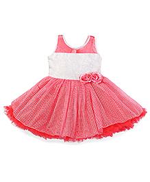 Enfance Beautiful Rose Flower Applique Frilled Party Dress - Pink