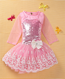 Enfance Singlet Sequin Party Wear Embroidery Dress With Inner Top - Pink