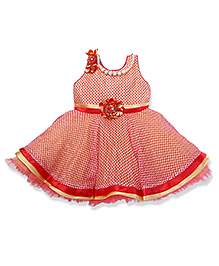 Enfance Sleeveless Party Frock With Attached Necklace - Red