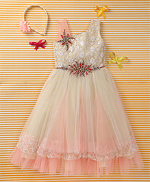 Enfance Embroidery Combo Partywear Gown - Off White & Pink