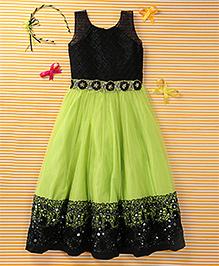 Enfance Woven Net Solid Partywear Gown - Black & Green