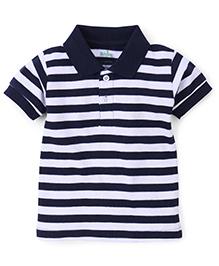 Babyhug Polo T-Shirt Stripes Pattern - White And Navy