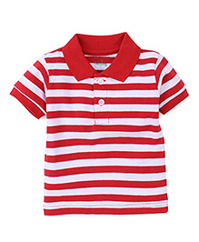 Babyhug Polo T-Shirt Stripes Pattern - White And Red