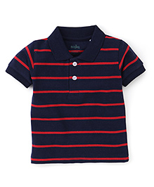 Babyhug Polo T-Shirt Stripes Pattern - Navy And Red