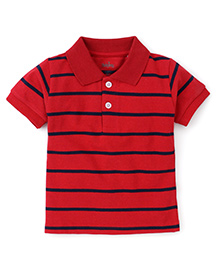 Babyhug Polo T-Shirt Stripes Pattern - Red And Navy