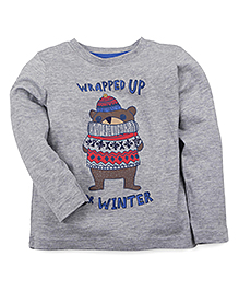 Mothercare Full Sleeves T-Shirt Wrapped Up For Winter Print - Grey