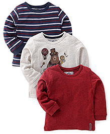 Mothercare Full Sleeves Printed T-Shirt Pack Of 3 - Grey Navy Maroon