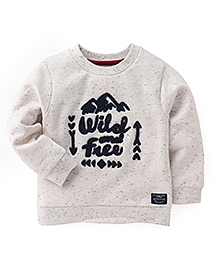 Mothercare Full Sleeves Winter Wear Top - Off White Navy