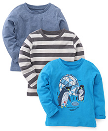 Mothercare Full Sleeves Tees Pack Of 3 - Blue Grey Light Blue