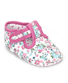 Mothercare Floral Print Booties - Pink