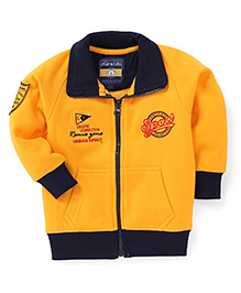 Olio Kids Full Sleeves Sweat Jacket Sport Embroidery - Yellow