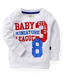 Olio Kids Full Sleeves T-Shirt Miniature League Print - White
