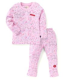 Olio Kids Full Sleeves Printed Night Suit - Pink