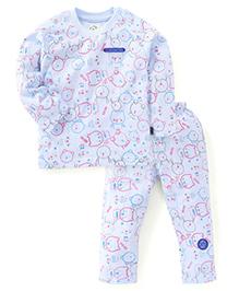 Olio Kids Full Sleeves Printed Night Suit - Light Blue