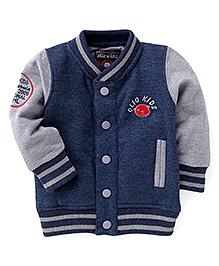 Olio Kids Full Sleeves Sweat Jacket With Fleece Lining - Blue