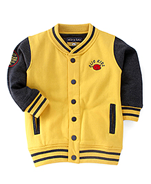 Olio Kids Full Sleeves Sweat Jacket With Fleece Lining - Yellow