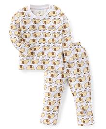 Olio Kids Full Sleeves Night Suit Elephant Print -Yellow