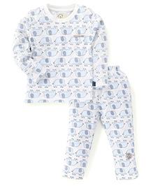 Olio Kids Full Sleeves Night Suit Elephant Print - Blue
