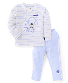 Olio Kids Full Sleeves Night Suit Puppy Embroidery - White Light Blue