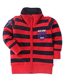 Olio Kids Full Sleeves Sweat Jacket With Fleece Lining - Red